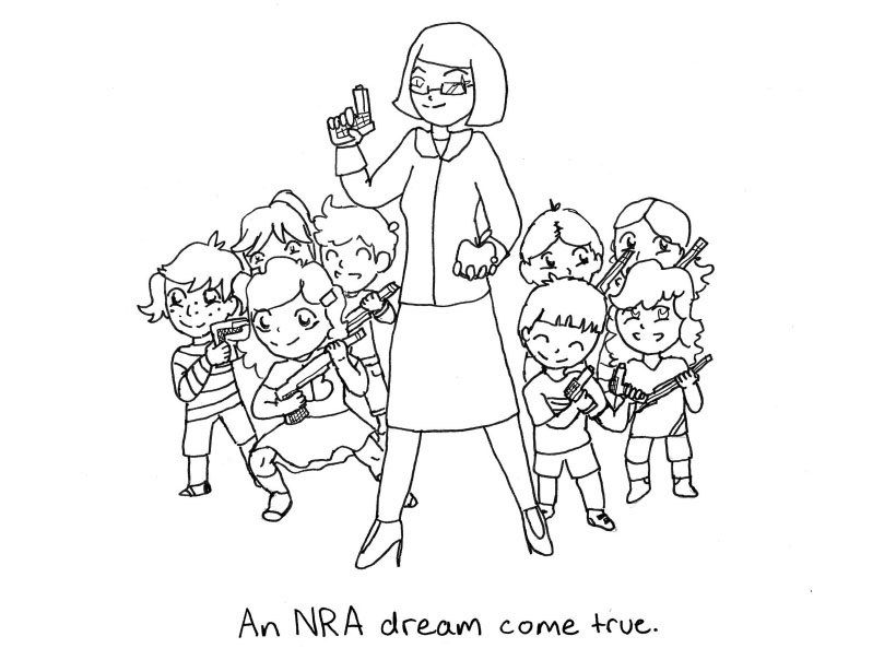 Sasha Matthews cartoon: An NRA dream come true (armed teacher and children)